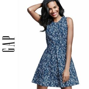 GAP Blue Floral Print Fit & Flare Casual Dress